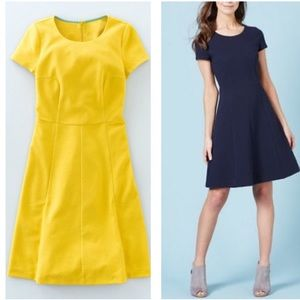Boden short sleeve ribbed cheerful yellow dress